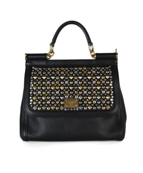 Dolce & Gabbana black leather gold silver sudded bag 1