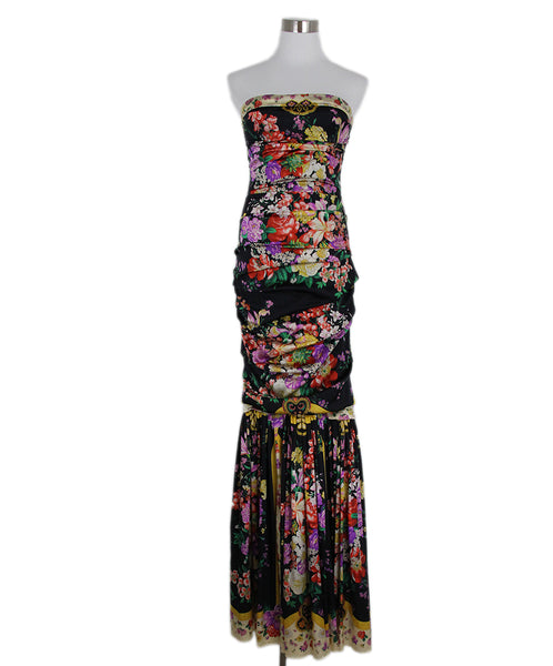 Dolce & Gabbana Black Red Multi Floral Silk Dress 1