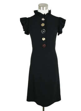 Dolce & Gabbana Black Viscose Gem Buttons Dress 1