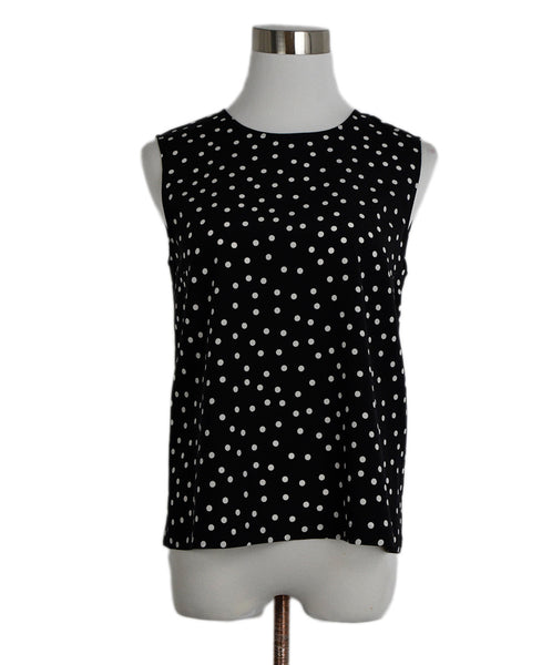 Dolce & Gabbana Black White Polka Dots Silk Top 1