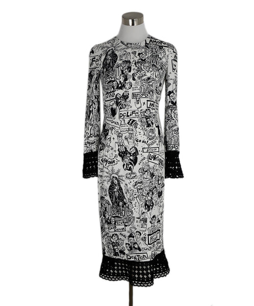 Dolce & Gabbana Black White Silk Crochet Trim Print Dress 1