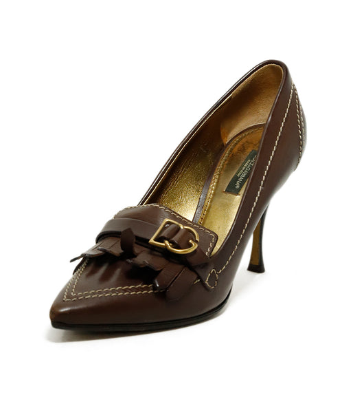 Dolce & Gabbana Brown Leather Loafer Heels 1