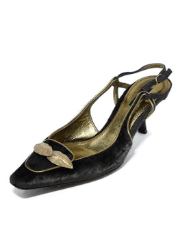 Dolce & Gabbana Brown Velvet Gold Leather Trim Heels 1