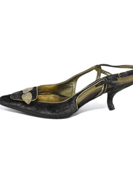 Dolce & Gabbana Brown Velvet Gold Leather Trim Heels 2