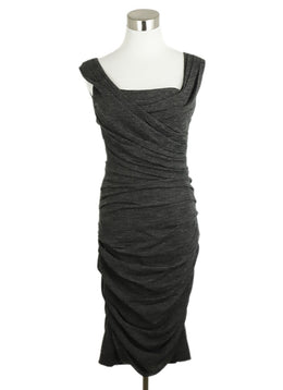 Dolce & Gabbana Charcoal Gathered Wool Silk Dress 1