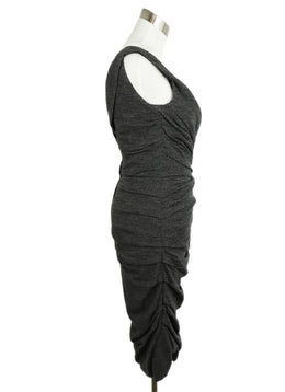 Dolce & Gabbana Charcoal Gathered Wool Silk Dress 2