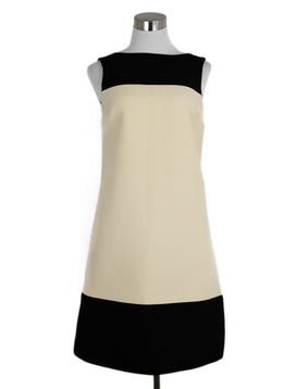 Dolce & Gabbana Cream Wool Black Dress 1