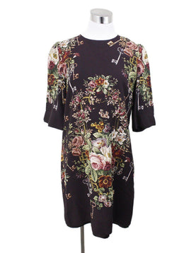 Dolce & Gabbana Plum Floral Viscose Dress