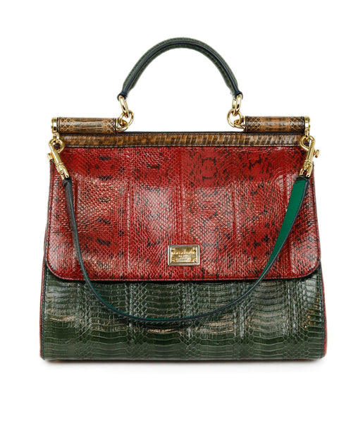 Dolce & Gabbana Red Green Brown Python Satchel Handbag 1