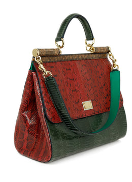 Dolce & Gabbana Red Green Brown Python Satchel Handbag 2