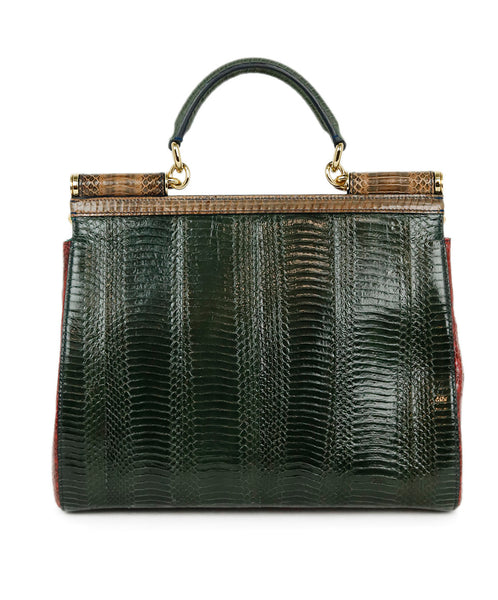Dolce & Gabbana Red Green Brown Python Satchel Handbag 3