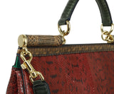 Dolce & Gabbana Red Green Brown Python Satchel Handbag 8