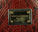 Dolce & Gabbana Red Green Brown Python Satchel Handbag 9