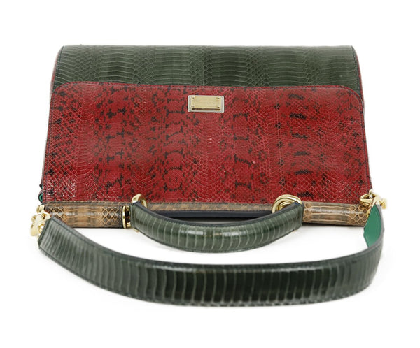 Dolce & Gabbana Red Green Brown Python Satchel Handbag 5