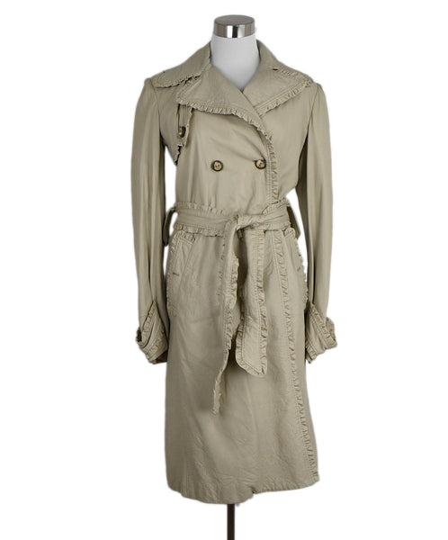 Dolce & Gabbana Sand Leather Ruffle Trenchcoat 1