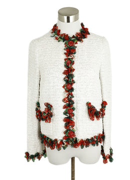 Dolce & Gabbana White Cotton Red Green Floral Jacket 1