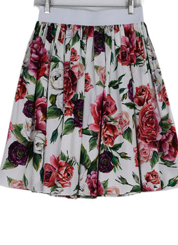 Dolce & Gabbana White Pink Purple Floral Cotton Skirt 1