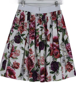 Dolce & Gabbana White Pink Purple Floral Cotton Skirt 2