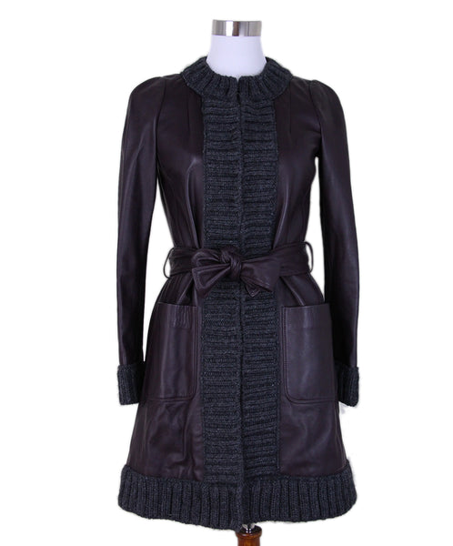 Dolce & gabbana eggplant leather grey wool Coat 1