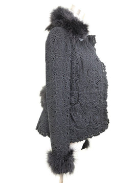 Jacket Dolce & Gabbana Black Eyelet Cotton Maribou Feathers Outerwear 2