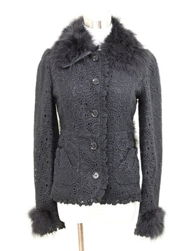 Jacket Dolce & Gabbana Black Eyelet Cotton Maribou Feathers Outerwear 1