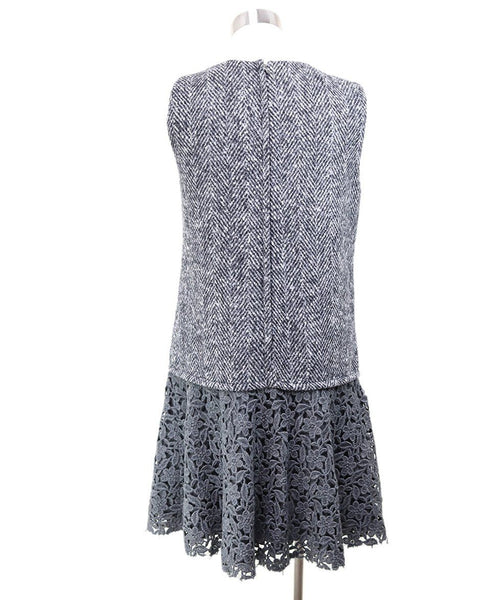 Dolce & Gabbana Black Grey Wool White Floral Eyelet Dress 2
