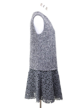 Dolce & Gabbana Black Grey Wool White Floral Eyelet Dress 1