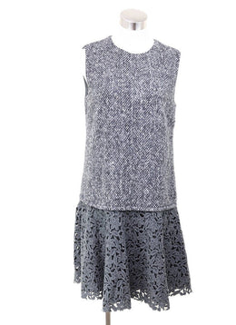 Dolce & Gabbana Black Grey Wool White Floral Eyelet Dress