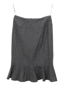 Dolce & Gabbana Grey Charcoal Wool Ruffle Trim Skirt 1