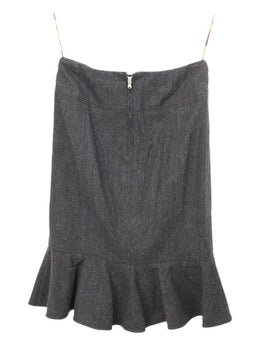 Dolce & Gabbana Grey Charcoal Wool Ruffle Trim Skirt 2
