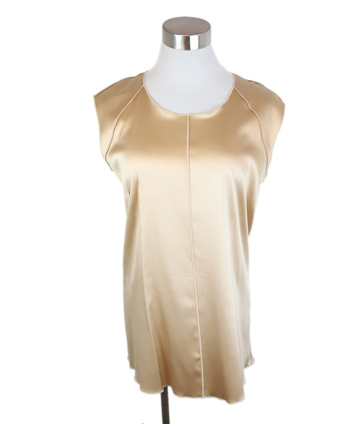 Dolce & Gabbana Neutral Tan Silk Top 1