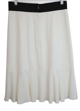 Dolce & Gabbana Ivory Silk Black Trim Viscose Rayon Skirt 2