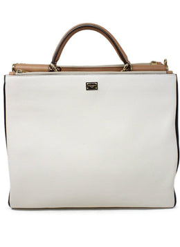 Dolce and Gabbana White and Black Leather Handbag 1