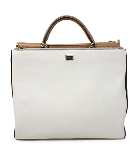 Calvin Klein Plum White Leather Shoulder Handbag