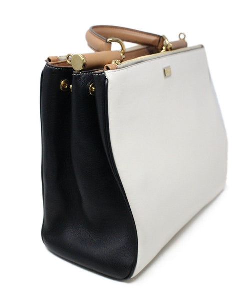 Dolce and Gabbana White and Black Leather Handbag 2