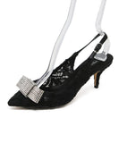 Dolce & Gabbana Black Lace Slingback Kitten Heel with Rhinestone Bow 1