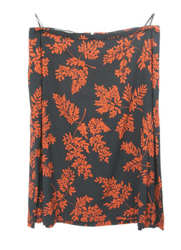 Dolce & Gabbana Black Silk Orange Floral Print Skirt 1