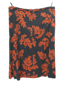 Dolce & Gabbana Black Silk Orange Floral Print Skirt 2