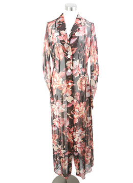 Dolce & Gabbana Brown Pink Floral Print Silk Dress 1