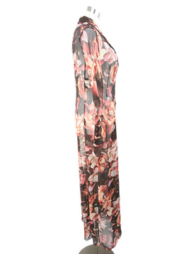 Dolce & Gabbana Brown Pink Floral Print Silk Dress 2