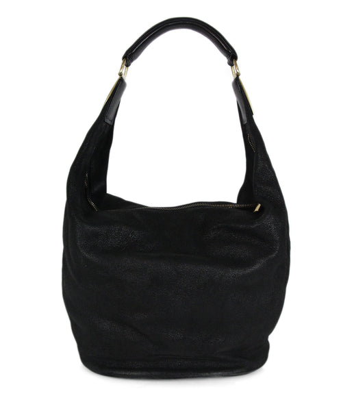 Donna Karan black suede leather hobo bag 1
