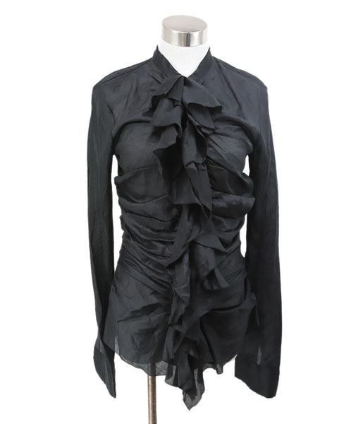 Donna Karan Black Ramie Ruffle Sheer Top 1