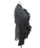 Donna Karan Black Ramie Ruffle Sheer Top 2
