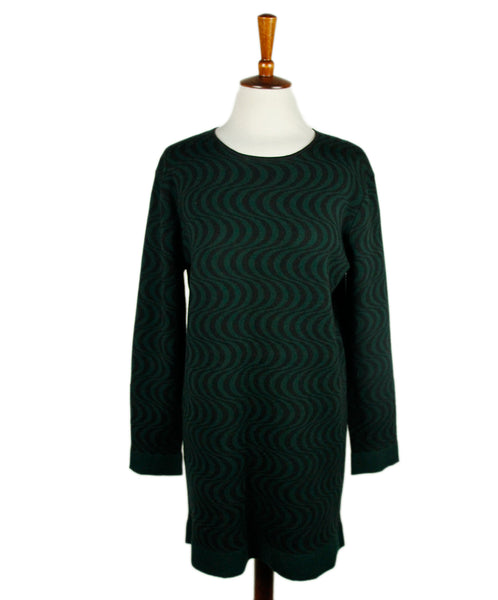 Dries Van Noten Black Green Print Wool Dress Sz 4