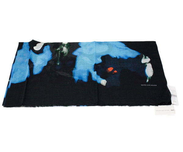 Dries Van Noten Blue Navy Floral Cotton Scarf