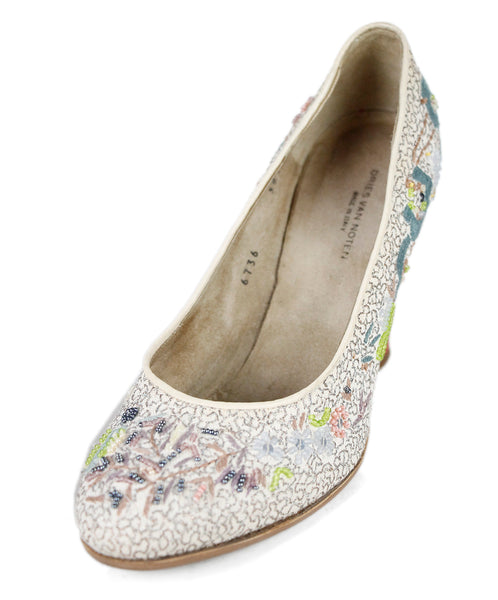 Dries Van Noten Neutral Beige Multi Floral Beaded Embroidery Shoes Sz 39.5