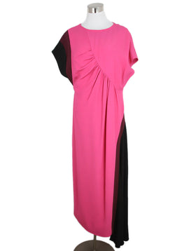 Dries Van Noten Pink Plum Black Viscose Acetate Dress 1