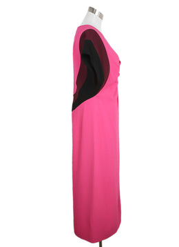 Dries Van Noten Pink Plum Black Viscose Acetate Dress 2