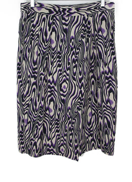 Dries Van Noten Purple Moire Print Skirt 1