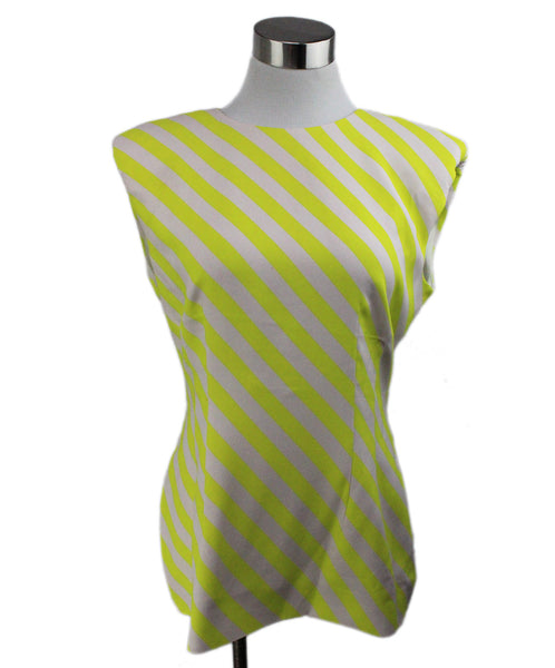 Dries Van Noten Yellow White Stripes Viscose Elastane Top 1